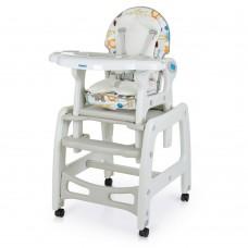 Детский Стульчик-трансформер для кормления: 3 положения спинки, качалка, столик, колеса - Bambi Animal Gray