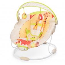 Детский шезлонг - качалка с вибрацией, музыкой и игрушками от Mastela, оранжевого цвета арт. 6418 46391-06 lvt-6418