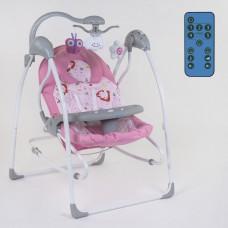 Детский Шезлонг Качалка Колыбель JOY с пультом, музыкальный мобиль, 5 скоростей, таймер, розовый арт. 60680