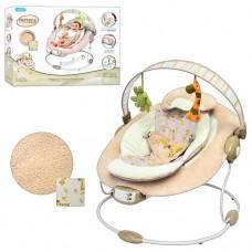 Детский шезлонг - качалка с вибрацией, музыкой (7 мелодий) и игрушками от Mastela, бежевого цвета арт. 60683 43233-06 lvt-60683