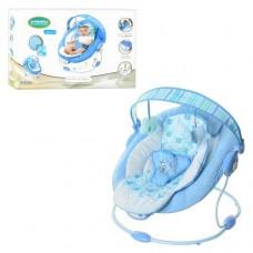 Детский шезлонг качалка с вибрацией, музыкой, съемной дугой с  игрушками, голубого цвета арт. 60682 43253-06 lvt-60682
