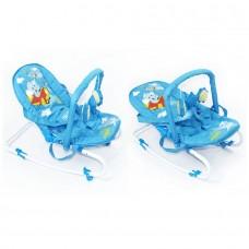 *Детский трансформирующийся шезлонг - качалка со съемным чехлом от ТМ Baby Tilly, голубого цвета арт. BB-0001 blue 43714-06 lvt-BB-0001 blue