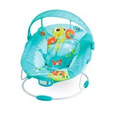 Детский шезлонг - качалка с вибрацией, музыкой и игрушками от Mastela, голубого цвета арт. 6408 43315-06 lvt-6408