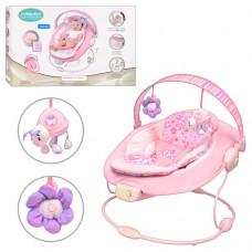 Детский шезлонг - качалка с вибрацией, музыкой (7 мелодий) и игрушками от Mastela, розового цвета арт. 60681 43428-06 lvt-60681