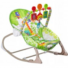 Детский Портативный Шезлонг-качалка для малышей до 18кг мягкая дуга с игрушками, музыка 50х55х60см - Fitch Baby