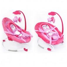 Детский Шезлонг Качалка для малышей Baby Tilly с музыкальной дугой, игрушками, 3 полож., розовый арт. BB-0002