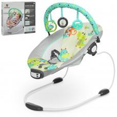 Детский шезлонг - качалка с вибрацией, музыкой  и игрушками от Mastela, серо-зеленого цвета арт. 6313 43389-06 lvt-6313