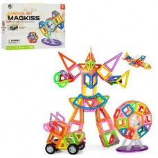 Детский цветной пластиковый магнитный конструктор Mini Magkiss с инструкцией, 56 деталей арт. 341