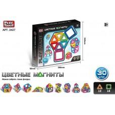 Детский цветной пластиковый магнитный конструктор PlaySmart с инструкцией, 30 деталей арт. 2427