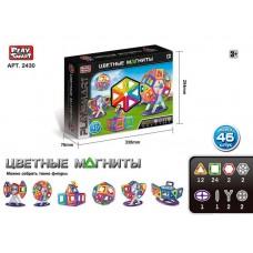 Детский цветной пластиковый магнитный конструктор PlaySmart с инструкцией, 46 деталей арт. 2430