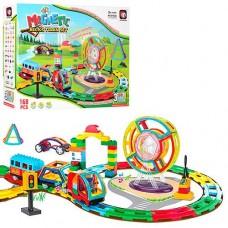 Детский музыкальный магнитный конструктор с железной дорогой Magnetic (block train set), 168 деталей арт. 9168