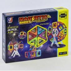 Детский пластиковый магнитный конструктор Magnetic sheet с инструкцией, 46 деталей арт. 4002