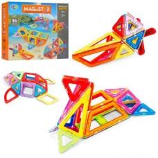 Детский пластиковый магнитный конструктор MagniStar с инструкцией, 36 деталей арт. 5003
