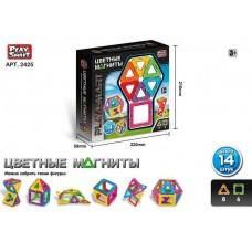 Набор элементов для Магнитного конструктора - 8 треугольников и 6 квадратов для детей от 3 лет - Play Smart