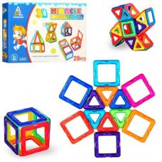Детский цветной пластиковый магнитный конструктор Miracle Magnetic sheet с инструкцией, 28 деталей арт. 9028