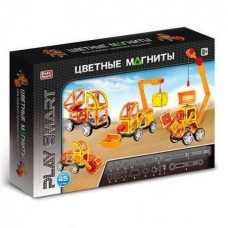 Детский цветной пластиковый магнитный конструктор PlaySmart с инструкцией, 45 деталей арт. 2428