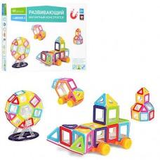 Детский цветной пластиковый магнитный конструктор Mini Magkiss с инструкцией, 68 деталей арт. 058