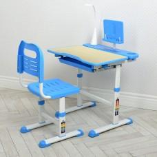 Комплект регулируемой детской мебели: Парта высотой 51-74см с LED лампой и Стульчик 36х40х74см бежево-голубой