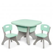 Игровой комплект детской мебели Bambi: столик с ячейками для хранения и 2 стульчика, голубой 69х69х50см