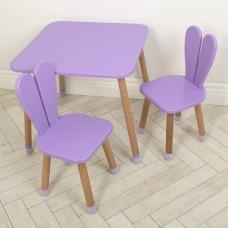 Комплект детской мебели для рисования - творческих занятий: стол 60х60х52см, 2 стульчика 30х31х56см фиолетовый*