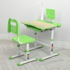 Парта детская регулируемая с LED лампой, подставкой, регулируемым стульчиком 74х36х40 см бежево-салатовая