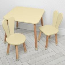 Комплект детской мебели для рисования и творческих занятий: стол 60х60х52см, 2 стульчика 30х31х56см бежевый*