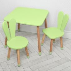 Комплект детской мебели для рисования и творческих занятий: стол 60х60х52см, 2 стульчика 30х31х56см салатовый*