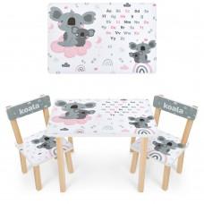 Набор детской мебели Коала: столик для рисования и творческих занятий 60х40х43см и 2 стульчика 30х30х51см