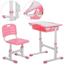 Детская регулируемая парта (13 положений) с полкой и крючком для рюкзака, розового цвета  арт. 3230-8