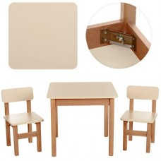 Детский Набор Мебели ТМ Эко для детей от 2 лет, столик и 2 стульчика, цвет БЕЖЕВЫЙ+ОЛЬХА Украина, арт. 093*
