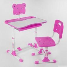 Комплект регулируемой детской мебели: Парта (высота 60-70см) с выдвижным ящиком и Стульчик (35-40см), розовый
