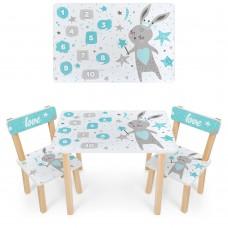 Набор детской мебели Зайчик: столик для рисования и творческих занятий 60х40х43см и 2 стульчика 30х30х51см