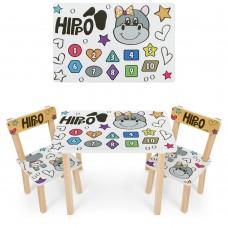 Набор детской мебели Бегемотик: столик для рисования и творческих занятий 60х40х43см и 2 стульчика 30х30х51см