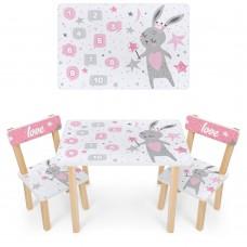 Набор детской мебели Зайка: столик для рисования и творческих занятий 60х40х43см и 2 стульчика 30х30х51см