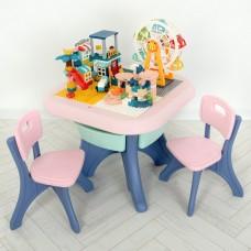 Игровой комплект детской мебели Bambi: столик с ящиками, конструктор и 2 стульчика, розовый+синий 65х65х51см