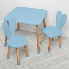Комплект детской мебели для рисования и творческих занятий: столик 60х60х52см, 2 стульчика 30х31х56см голубой*