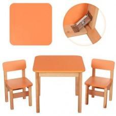 Детский Набор Мебели ТМ Эко для детей от 2 лет, столик и 2 стульчика, цвет ОРАНЖЕВЫЙ+ОЛЬХА, Украина, арт. 092*