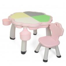 Игровой комплект детской мебели для сборки конструктора Bambi: столик с нишей и стульчик, розовый 84х84х50см