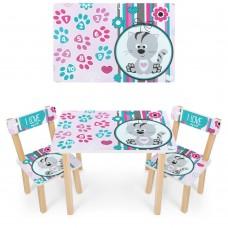 Набор детской мебели Котенок: столик для рисования и творческих занятий 60х40х43см и 2 стульчика 30х30х51см