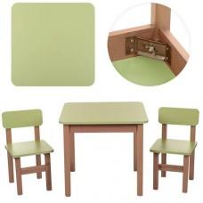 Детский Набор Мебели ТМ Эко для детей от 2 лет, столик и 2 стульчика, цвет САЛАТОВЫЙ+ОЛЬХА Украина, арт. 091*