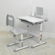 Комплект регулируемой детской мебели: Парта (13 положений высоты) с лампой и Стульчик (7 положений) серый