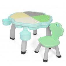 Игровой комплект детской мебели для сборки конструктора Bambi: столик с нишей и стульчик, зеленый 84х84х50см