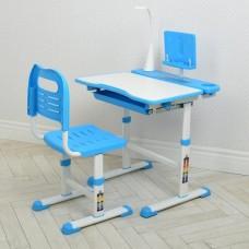 Комплект регулируемой детской мебели: Парта (13 положений высоты) с лампой и Стульчик (7 положений), голубой