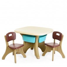 Игровой комплект детской мебели Bambi: столик с ячейками для хранения и 2 стульчика, коричневый 69х69х50см