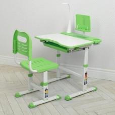 Комплект регулируемой детской мебели: Парта (13 положений высоты) с лампой и Стульчик (7 положений) салатовый