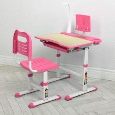 Комплект регулируемой детской мебели: Парта высотой 51-74см с LED лампой и Стульчик 36х40х74см бежево-розовый