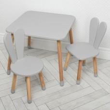 Комплект детской мебели для рисования и творческих занятий: столик 60х60х52см, 2 стульчика 30х31х56см серый*