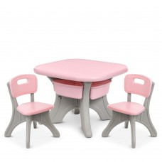 Игровой комплект детской мебели Bambi: столик с ячейками для хранения и 2 стульчика, розовый 69х69х50см