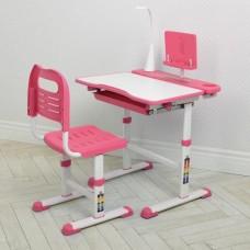 Комплект регулируемой детской мебели: Парта (13 положений высоты) с лампой и Стульчик (7 положений) розовый*