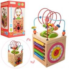 Развивающая игрушка для малышей Деревянный Логический куб: счеты, часики, шестеренки, пальчиковый лабиринт